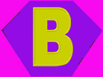 Kid size hot pink cape, purple hexagon, with a yellow letter B