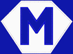 Kid size blue cape, white hexagon, with a blue letter M