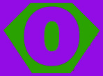 Kid size purple cape, green hexagon outlined in purple, with a purple letter O