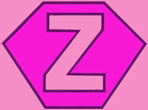 Kid size light pink cape, hot pink hexagon outlined in purple,  a light pink Z outlined in purple