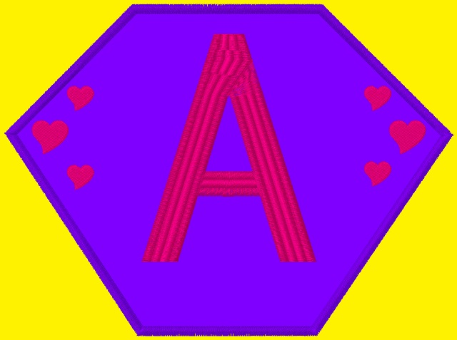 Kid Size Yellow Cape, Purple Hexagon, with a Pink Letter A with Pink Hearts