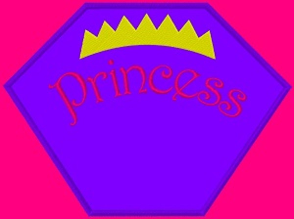 Kid size hot pink cape, purple hexagon, with Princess written in pink