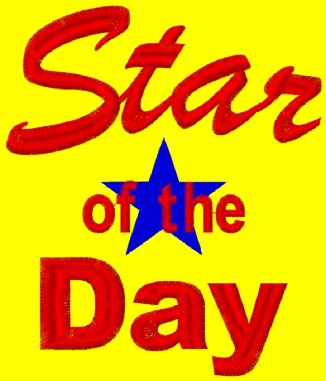 Kid size yellow cape, with Star of the Day in red writing/blue star