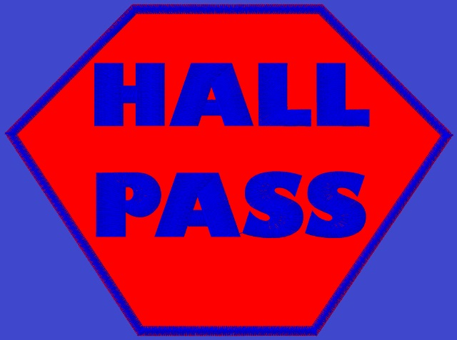 Kid size blue cape, red hexagon outlined in blue, with Hall Pass written in blue