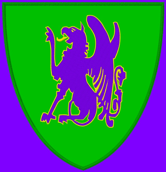 Kid size purple cape, green shield, with a purple Griffon, outlined in yellow