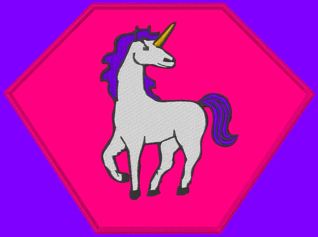 Kid size purple cape, pink hexagon, white unicorn with a purple mane
