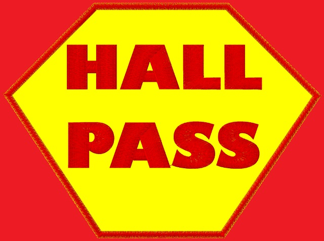 Kid size red cape, yellow hexagon outlined in red, with Hall Pass written in red